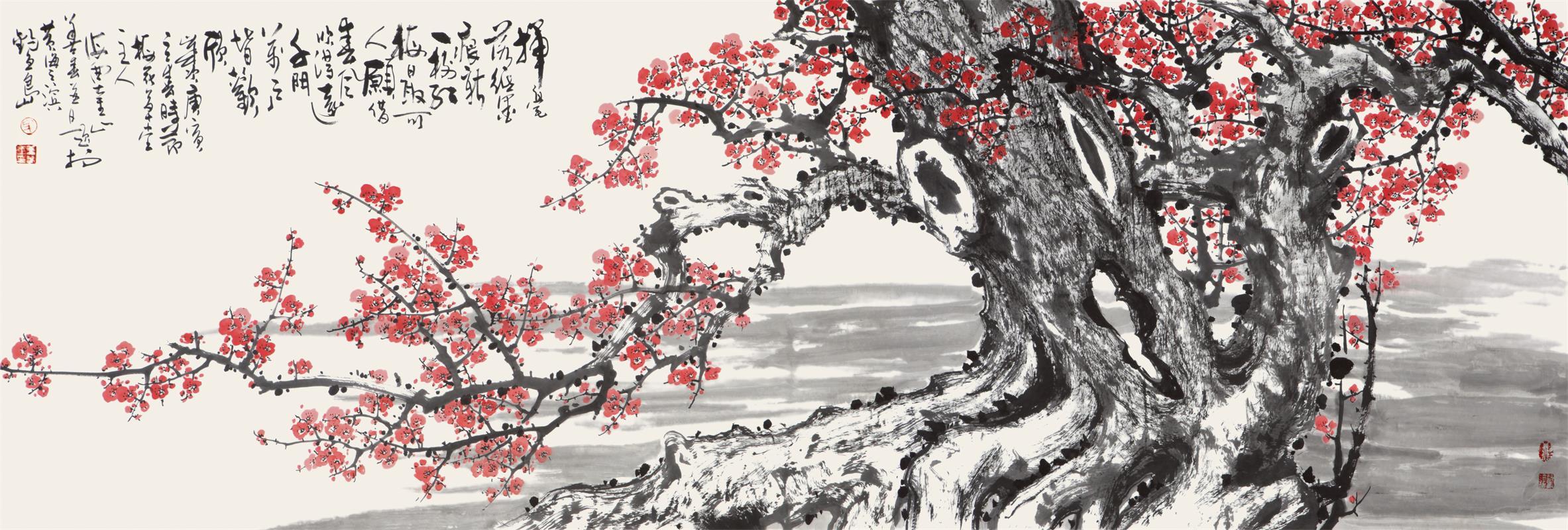 一树红梅最可人    120cm×240cm